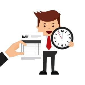 Podnikatel a čas na daně kresba