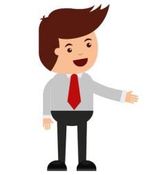Podnikatel ukazuje do strany kresba